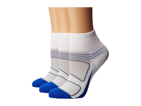 Feetures - Elite Light Cushion Quarter 3-Pair Pack (White/Cobalt) Quarter Length Socks Shoes