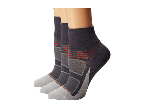 Feetures - Elite Ultra Light Quarter 3-Pair Pack (Carbon/Cherry Tomato) Quarter Length Socks Shoes