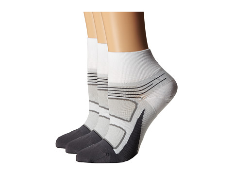 Feetures - Elite Ultra Light Quarter 3-Pair Pack (White/Black) Quarter Length Socks Shoes