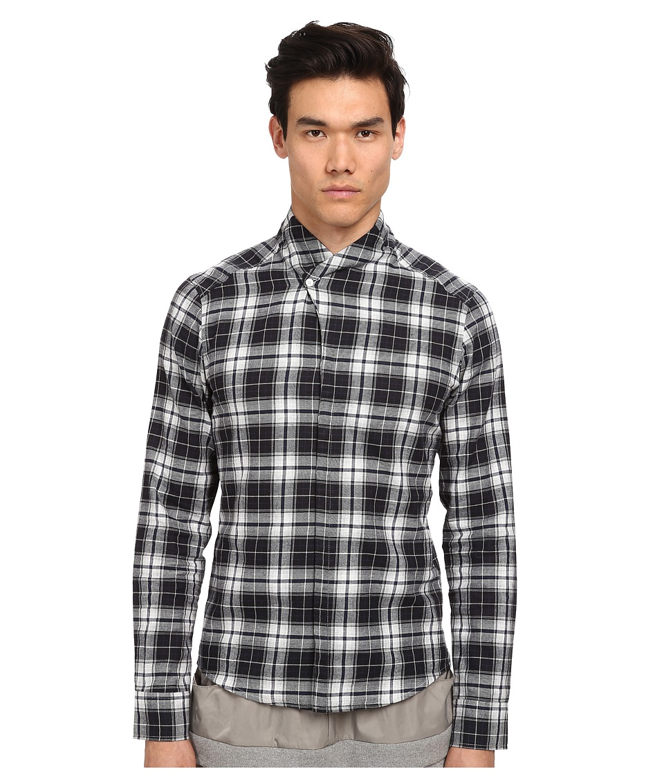 PRIVATE STOCK - The Langley Shirt (Black/Grey/White Plaid) Men's Clothing