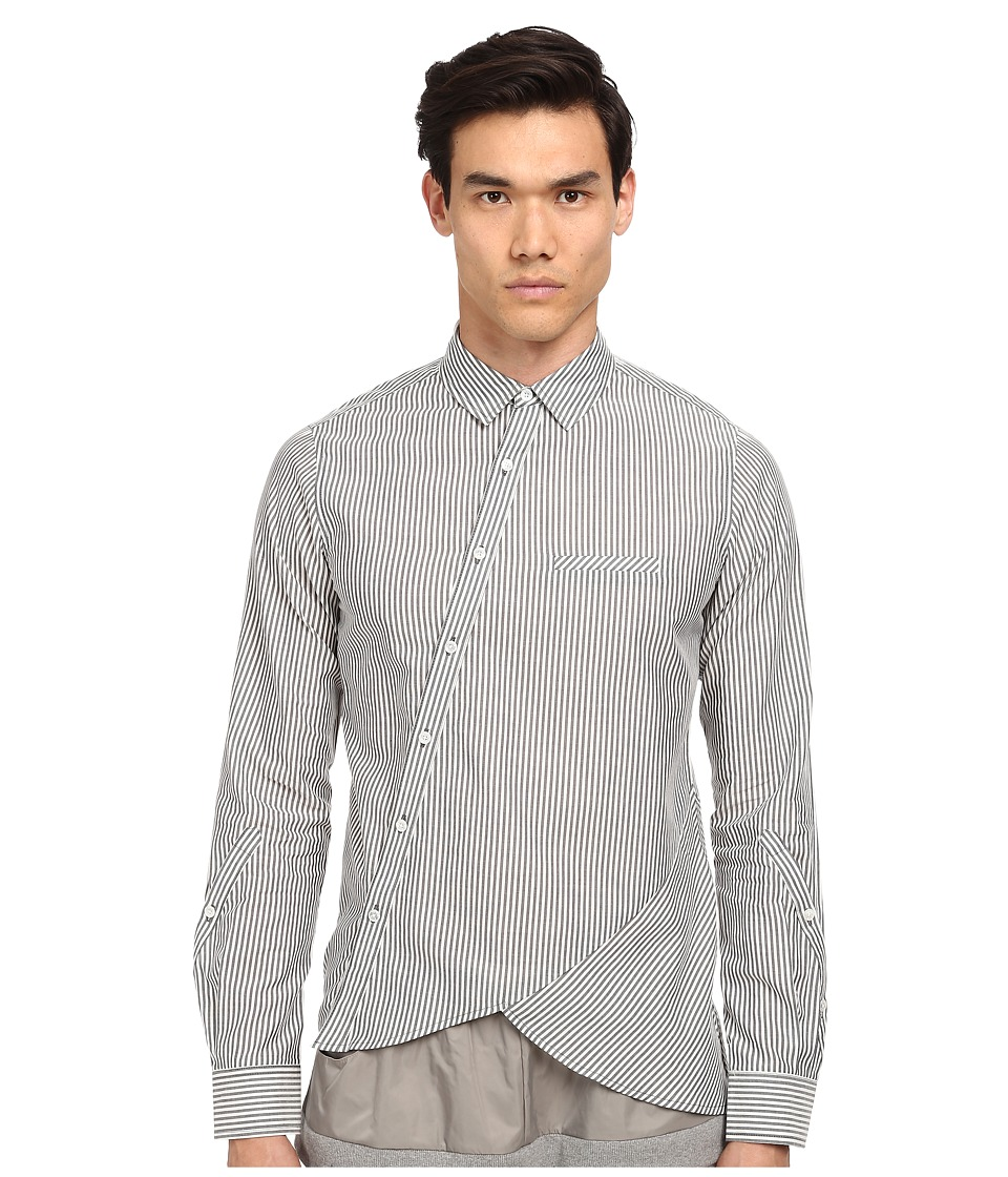 PRIVATE STOCK - The Rainhill Shirt (Grey/White Equal Stripe) Men's Clothing