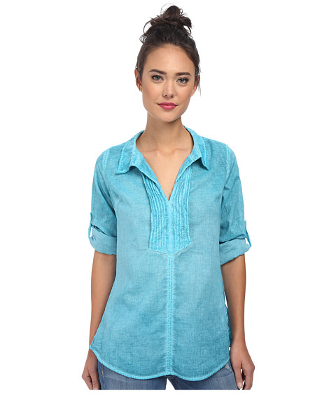 Christin Michaels - Pintucked Cotton Shirt (Turquoise) Women's Clothing