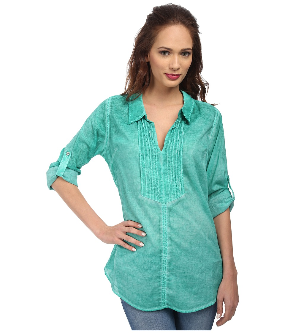 Christin Michaels - Pintucked Cotton Shirt (Jewel) Women's Clothing