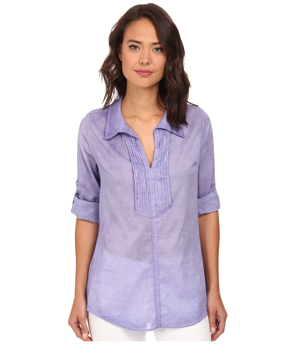 Christin Michaels - Pintucked Cotton Shirt (Lilac) Women's Clothing