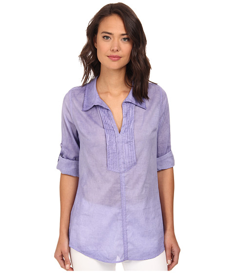 Christin Michaels - Pintucked Cotton Shirt (Lilac) Women