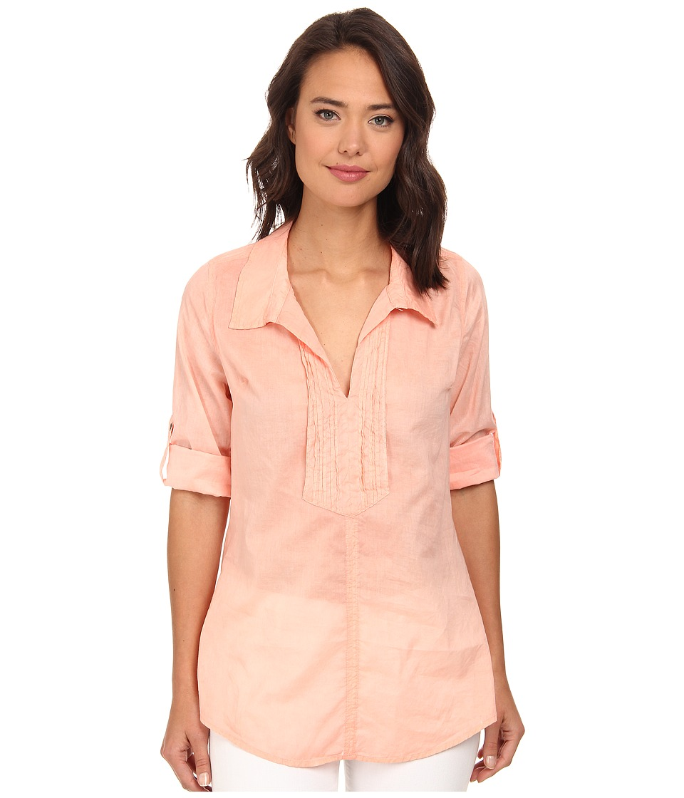 Christin Michaels - Pintucked Cotton Shirt (Coral) Women's Clothing
