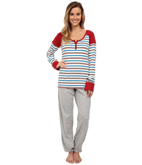 Tommy Hilfiger - Stripe Henley/Slim Pant Set (Crystal Stripe/Heather Grey) Women's Pajama Sets