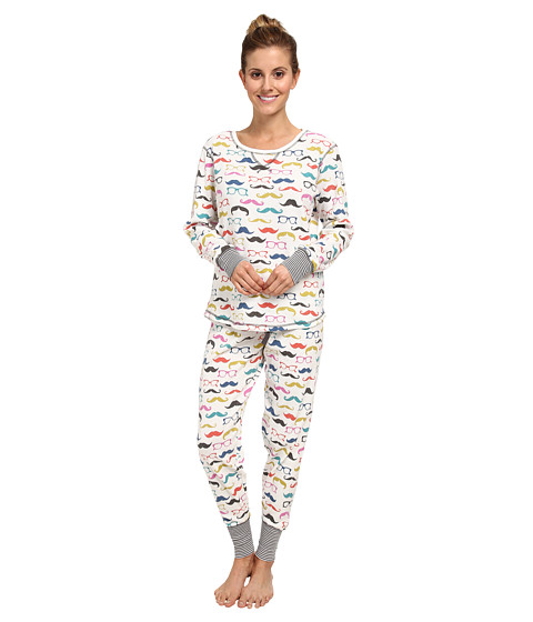 P.J. Salvage - Moustache Glasses Pajam Ski Set (Ivory) Women's Pajama Sets