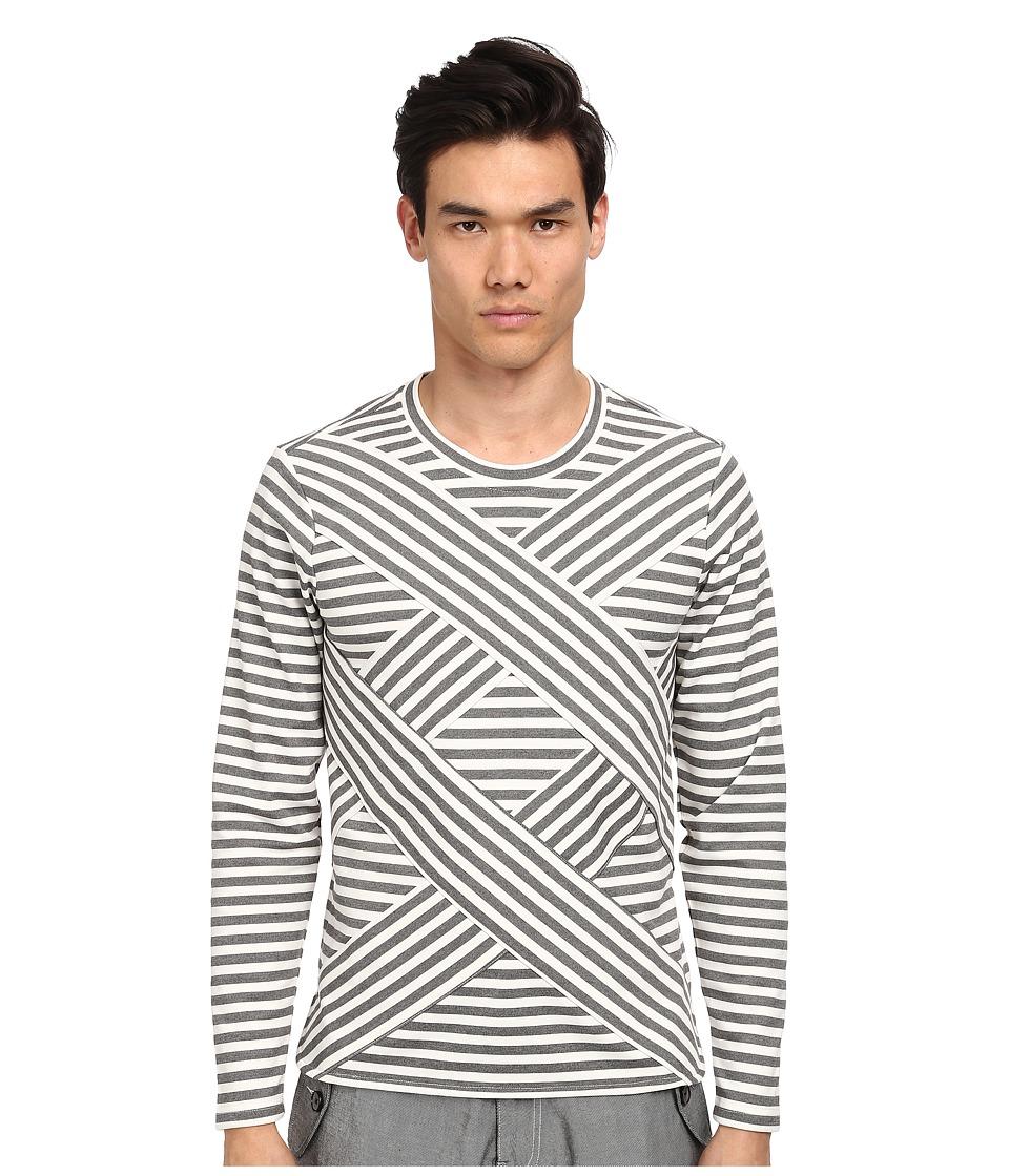 PRIVATE STOCK - The Glanrhyd Sweater (Grey/Cream Equal Stripe) Men's Sweater plus size,  plus size fashion plus size appare