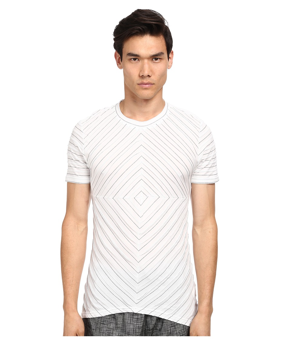 PRIVATE STOCK - The Callan Shirt (White/Grey Jacquard Stripe) Men's T Shirt