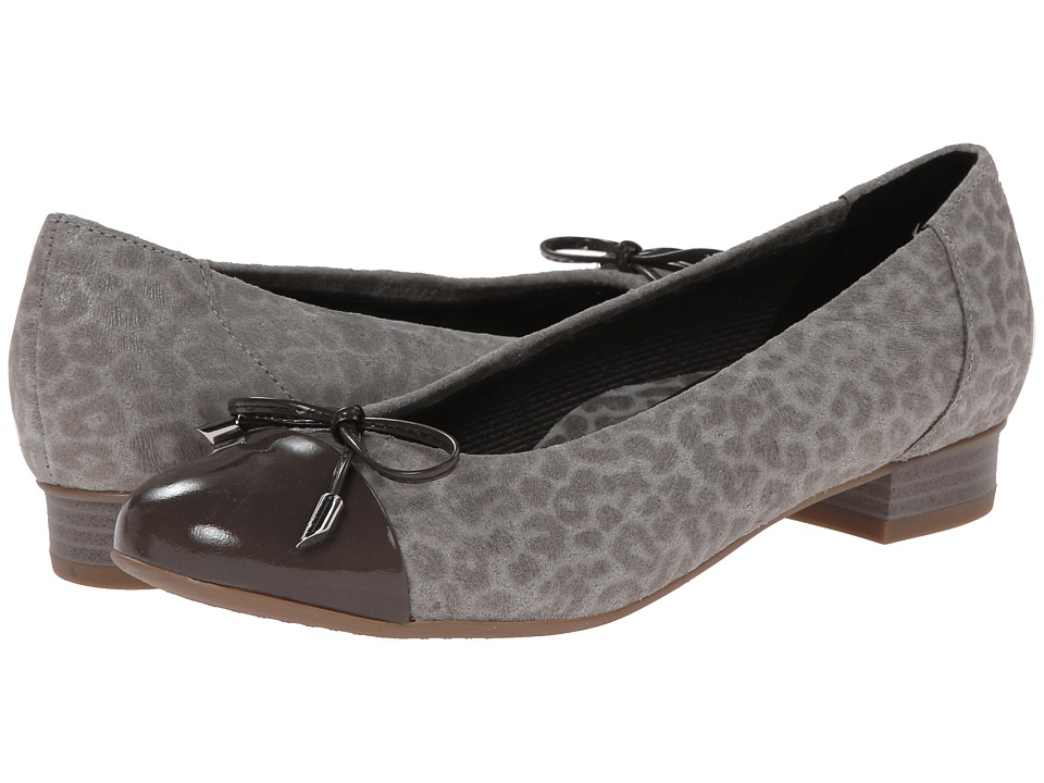 ara - Bria (Grey Leoskin/Grey Patent Toe) Women's Flat Shoes