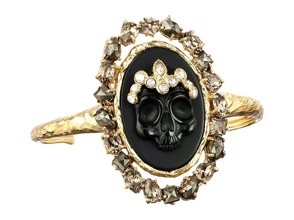 Alexis Bittar - Black Agate Cameo Cuff w/ Crystal Studded Crown Pyrite Accent Bracelet (Black Dark Gold) Bracelet