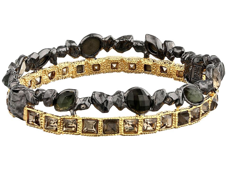 Alexis Bittar - Stacked Rocky Hinge Rose Cut w/ Pyrite Bracelet (Dark Gold) Bracelet
