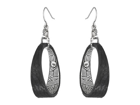 The Sak - Get Connected Leather Hoop Drop Earring (Black/Silver) Earring