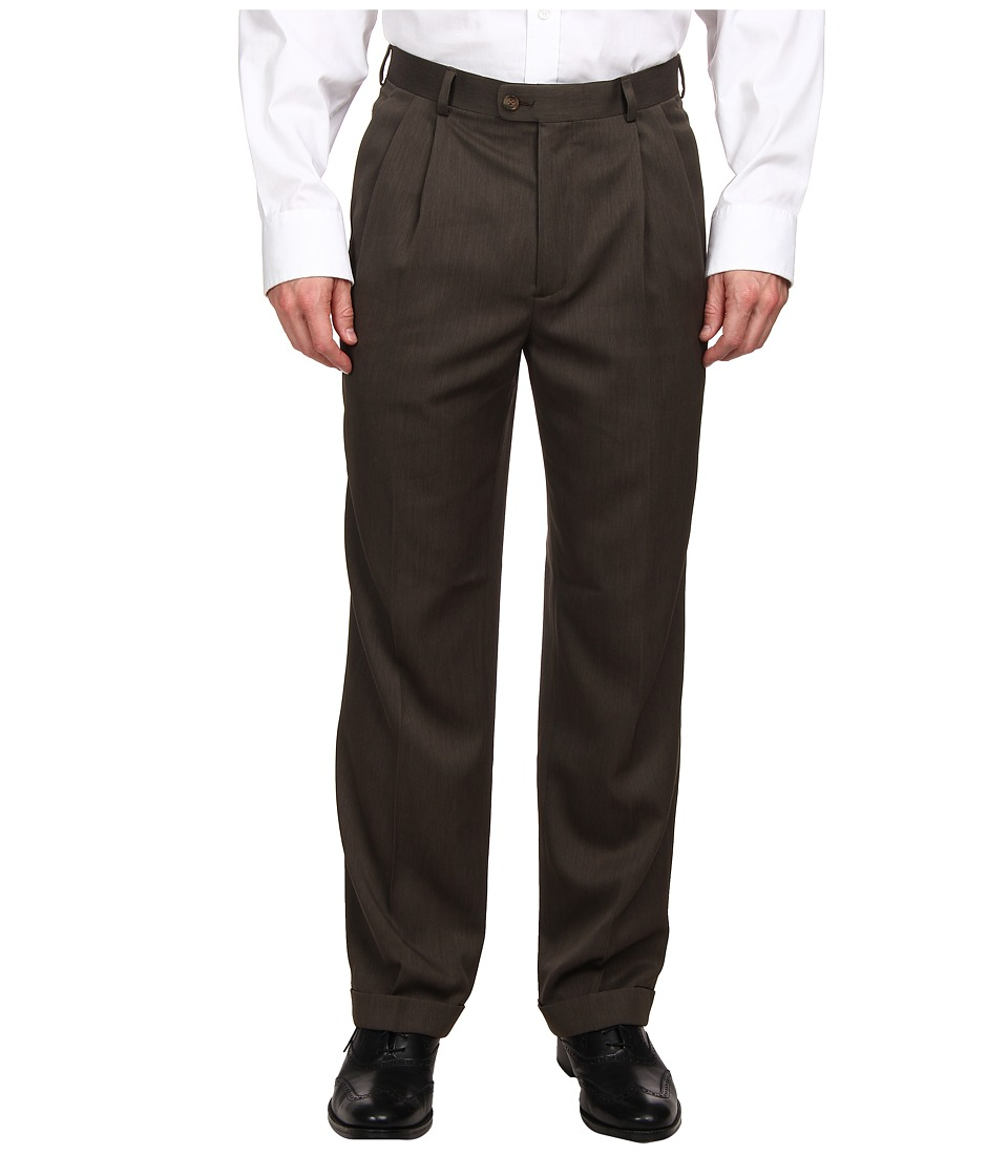 Perry Ellis Portfolio - Classic Fit Double Pleated Micro Melange Pant (Fir) Men's Dress Pants