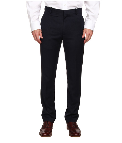Perry Ellis Portfolio - Slim Fit Flat Front Neat Pant (Midnight Blue) Men