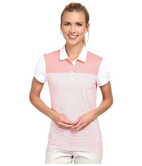 Nike Golf - Dot Block Polo (White/White/Hot Lava/Hot Lava) Women