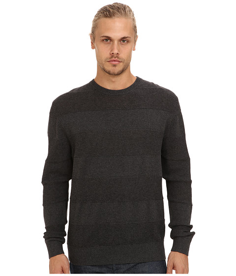 French Connection - Portrait Texture (Charcoal Mel) Men's Long Sleeve Pullover