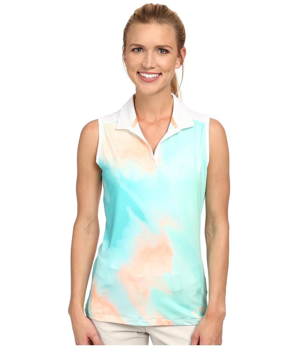 Nike Golf - Printed Sleeveless Polo (Artisan Teal/Sunset Glow/Light Retro/Sunset Glow) Women's Sleeveless