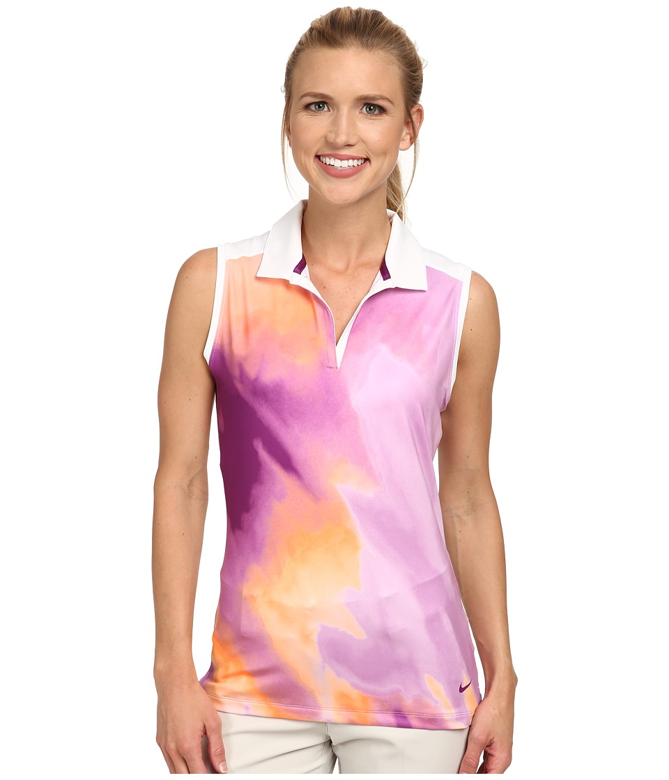 Nike Golf - Printed Sleeveless Polo (Violet Shock/Hot Lava/Bold Berry/Bold Berry) Women's Sleeveless