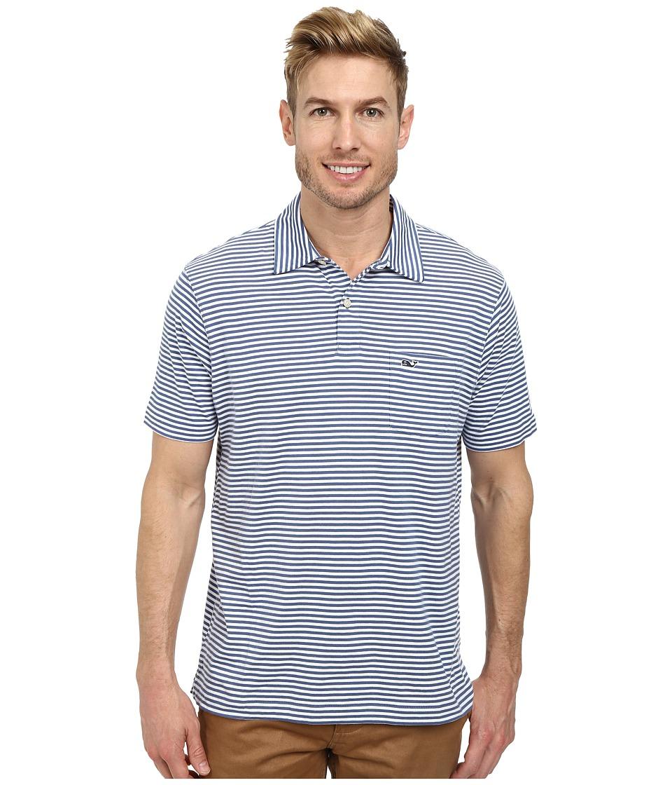 Vineyard Vines - Feeder Stripe Jersey Polo (Moonshine) Men's Short Sleeve Pullover