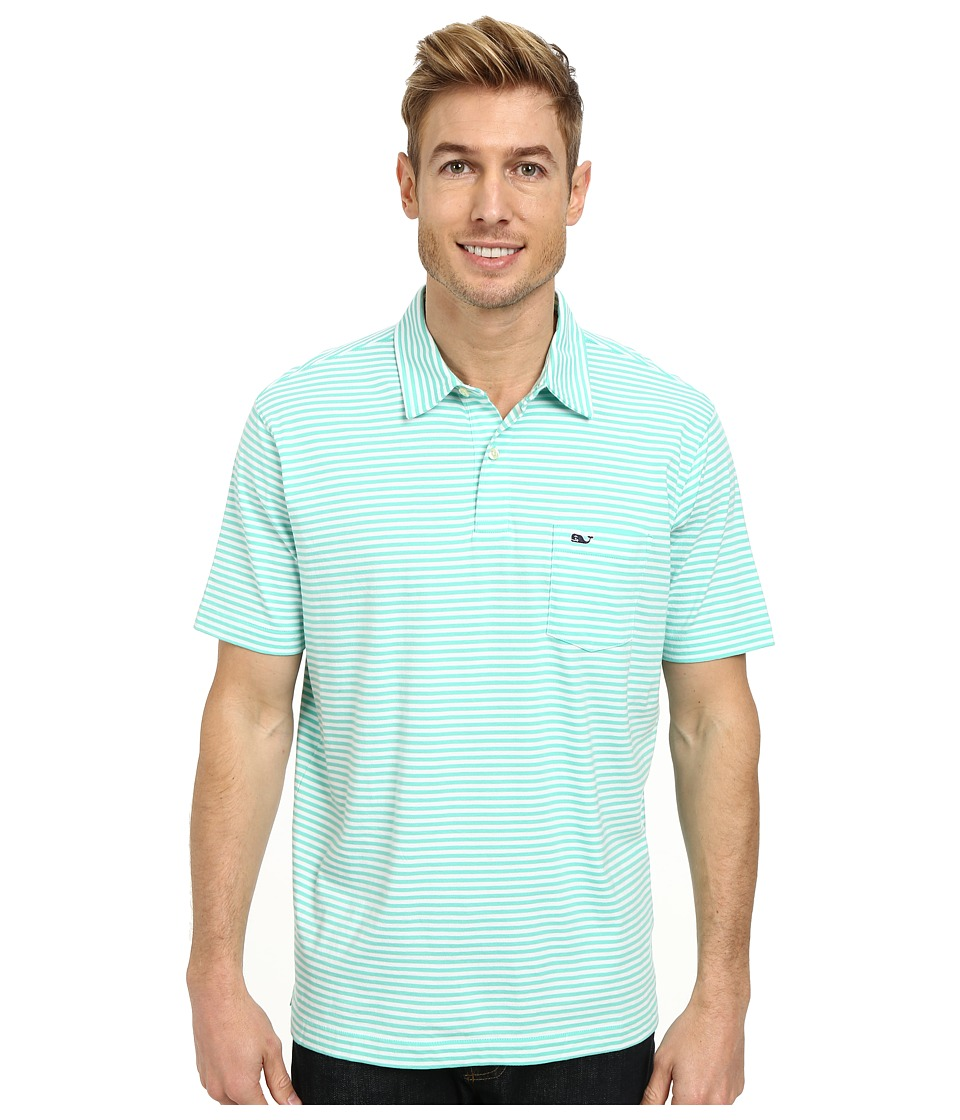 Vineyard Vines - Feeder Stripe Jersey Polo (Antigua Green) Men