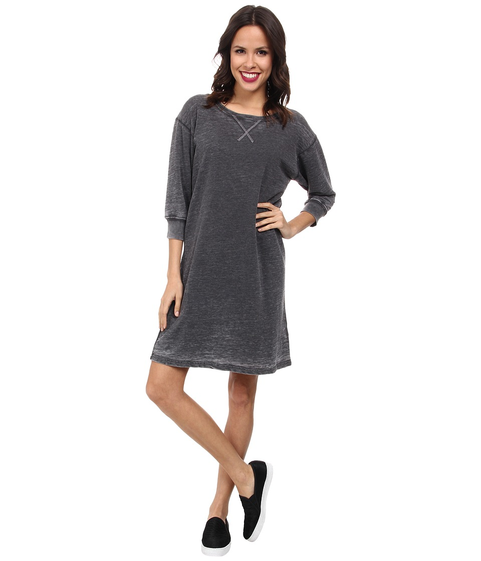 Allen Allen - 3/4 Sleeve Raglan Dress (Black) Women