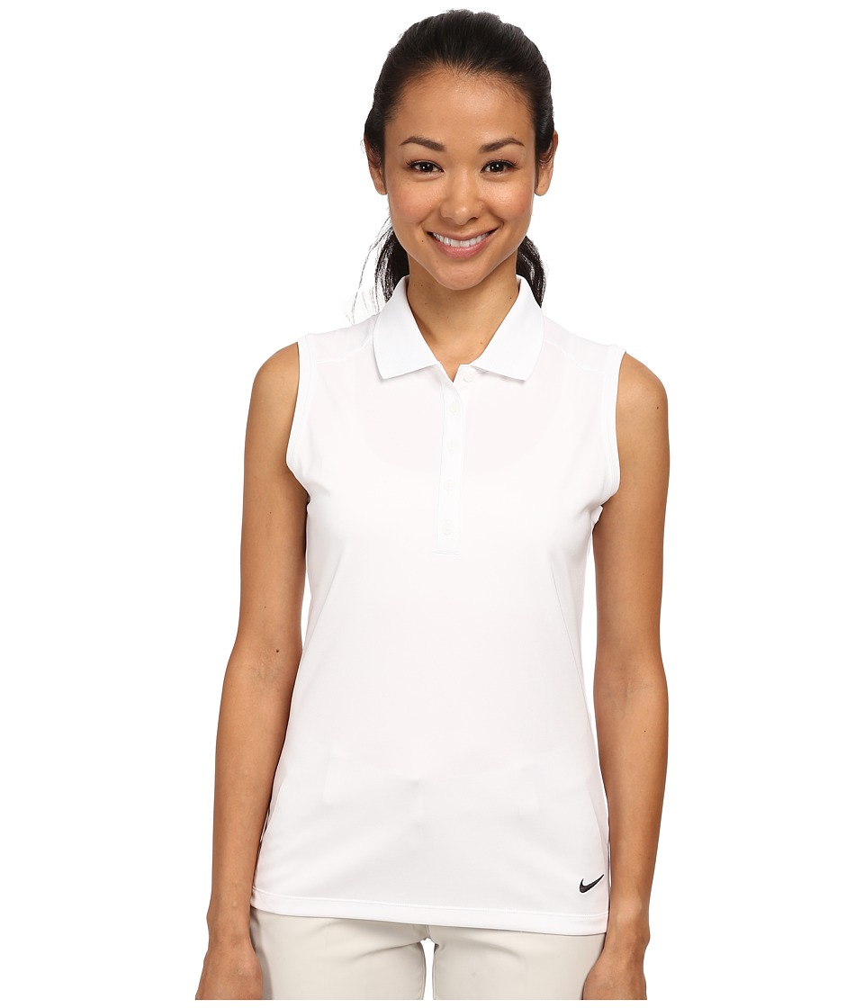 Nike Golf - Victory Sleeveless Polo (White/Black) Women's Short Sleeve Knit