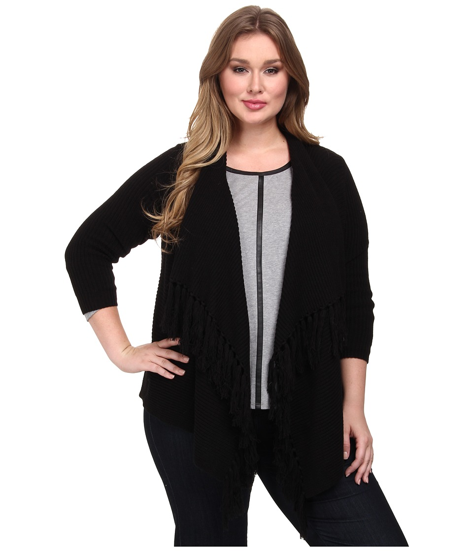 Vince Camuto Plus - Plus L/S Open Front Cardigan w/ Front Fringe (Rich Black) Women's Sweater