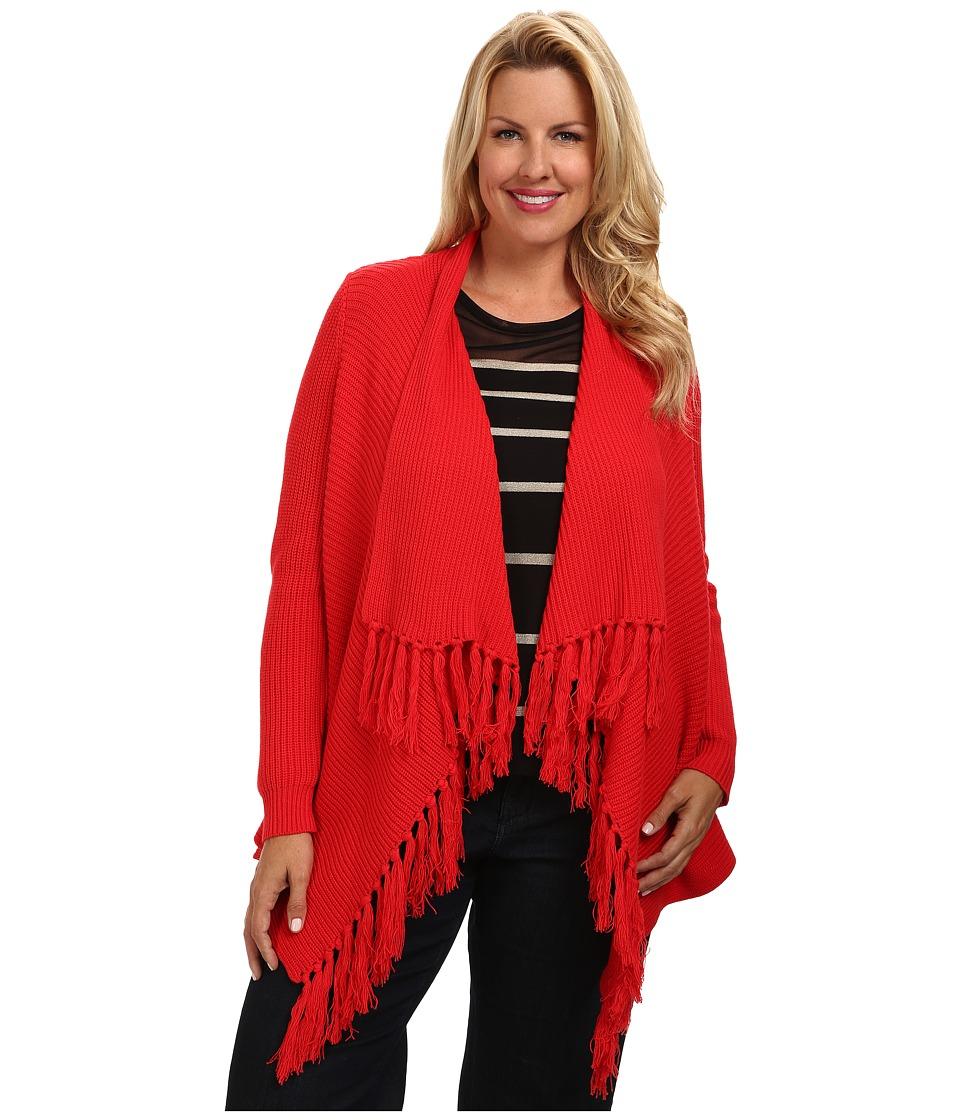 Vince Camuto Plus - Plus L/S Open Front Cardigan w/ Front Fringe (Cherry) Women's Sweater