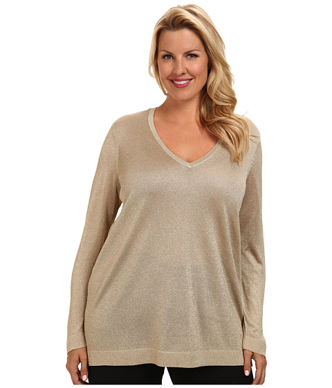 Vince Camuto Plus - Plus L/S V-Neck Sweater w/ Side Slits (Gold Sparkle) Women