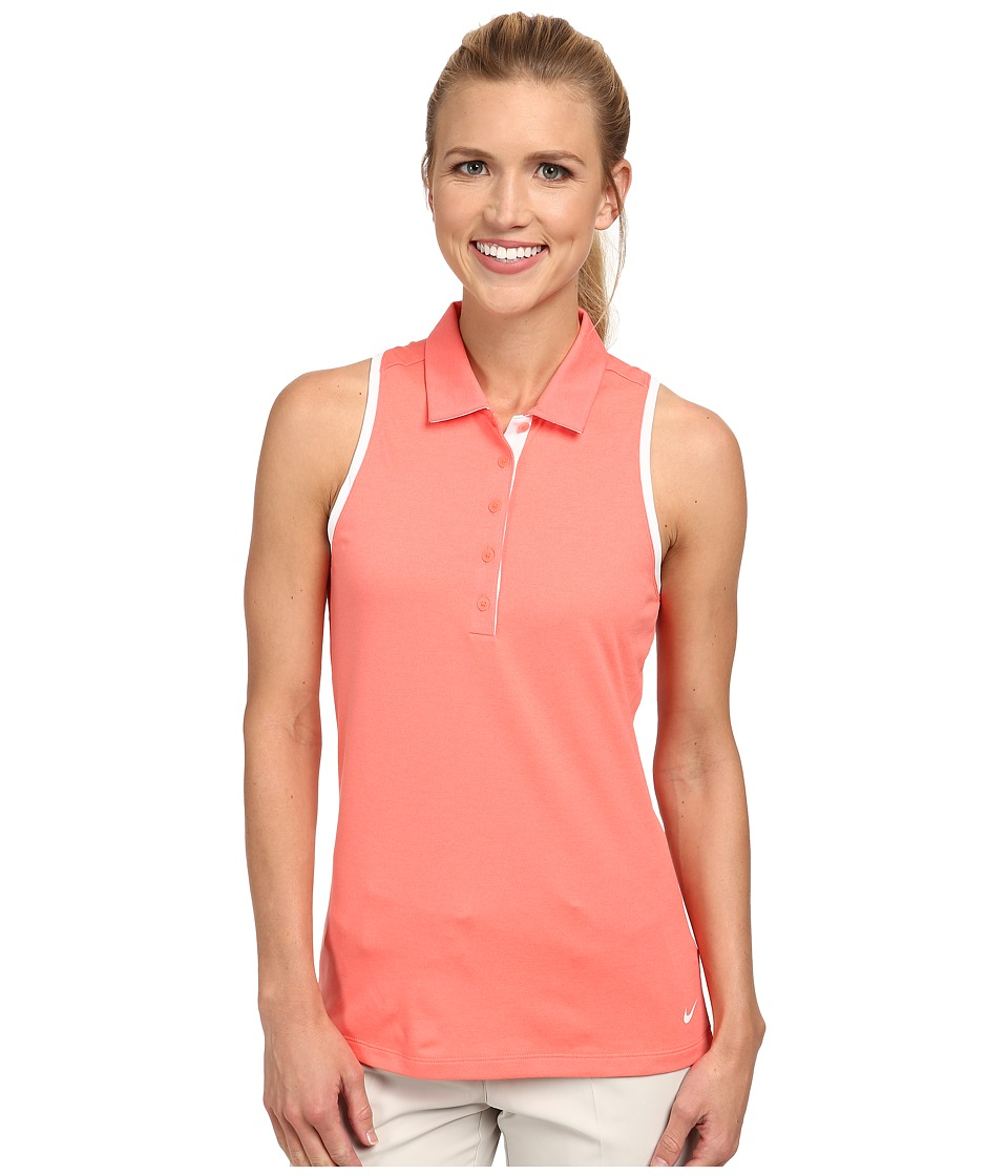 Nike Golf - Victory Block Racerback (Hot Lava/Heather/Hot Lava/White) Women's Sleeveless