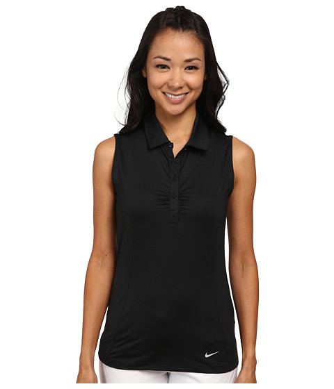 Nike Golf - Mini Stripe Sleeveless Polo (Black/Wolf Grey) Women