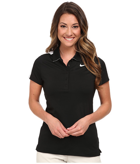 Nike Golf - Swoosh Mesh Polo (Black/White/White) Women's Short Sleeve Knit