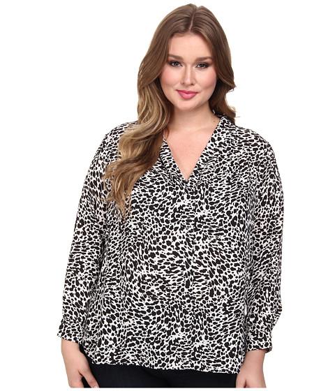 Vince Camuto Plus - Plus L/S V-Neck Animal Flurry Shirttail Blouse (Rich Black) Women