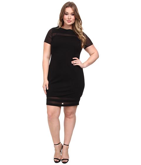 Vince Camuto Plus - Plus Cap Sleeve Ponte Chiffon Inset Dress (Rich Black) Women