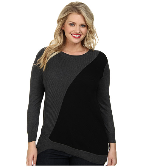 Vince Camuto Plus - Plus L/S Ribbed Color Block Sweater w/ Asymmetrical Hem (Medium Heather Grey) Women's Sweater