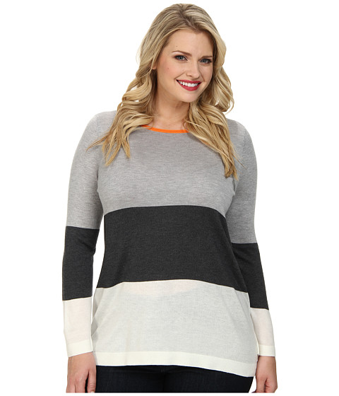 Vince Camuto Plus - Plus L/S Boatneck Wide Stripe Sweater (Vanilla) Women