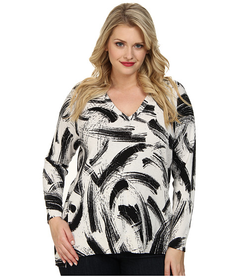 Vince Camuto Plus - Plus L/S V-Neck Playful Strokes Print Sweater (Vaniilla) Women