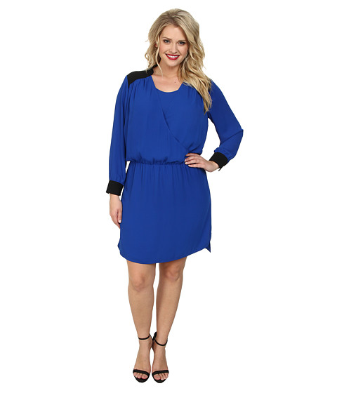 Vince Camuto Plus - Plus L/S Color Block Wrap Front Dress (Bright Blue) Women