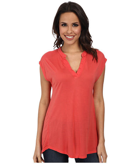 Allen Allen - Sleeveless Split Neck Tee (Tangelo) Women's T Shirt