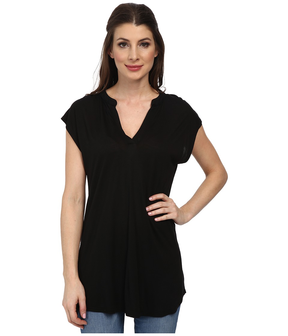 Allen Allen - Sleeveless Split Neck Tee (Black) Women's Blouse