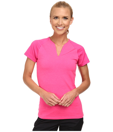 Nike Golf - Tour Mesh Top (Pink Pow/White) Women's Short Sleeve Pullover