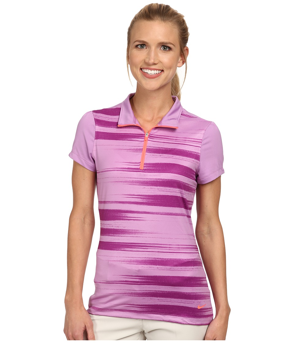 Nike Golf - Swing Stripe Mock (Violet Shock/Hot Lava) Women's Short Sleeve Knit