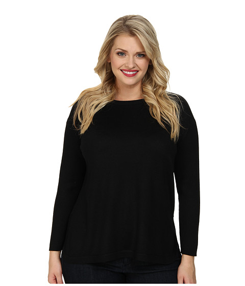Vince Camuto Plus - Plus L/S Oversized Boatneck Sweater (Rich Black) Women's Sweater