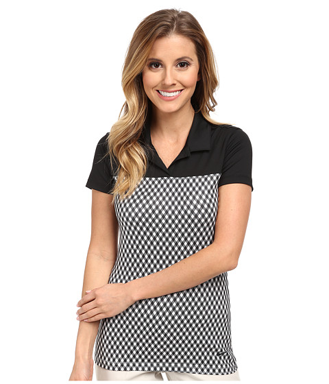 Nike Golf - Gingham Impact Polo (Black/Black/Black) Women's Short Sleeve Knit