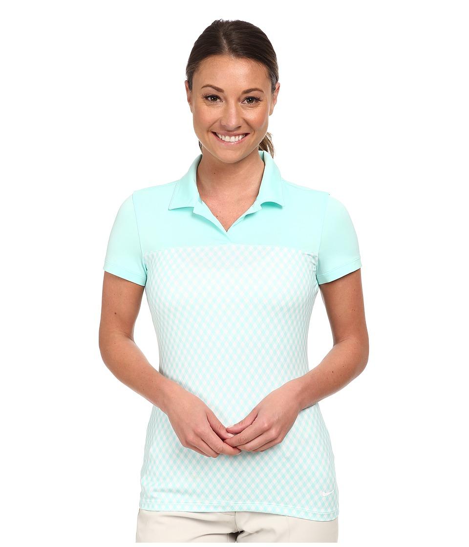 Nike Golf - Gingham Impact Polo (Artisan Teal/Artisan Teal/White) Women's Short Sleeve Knit