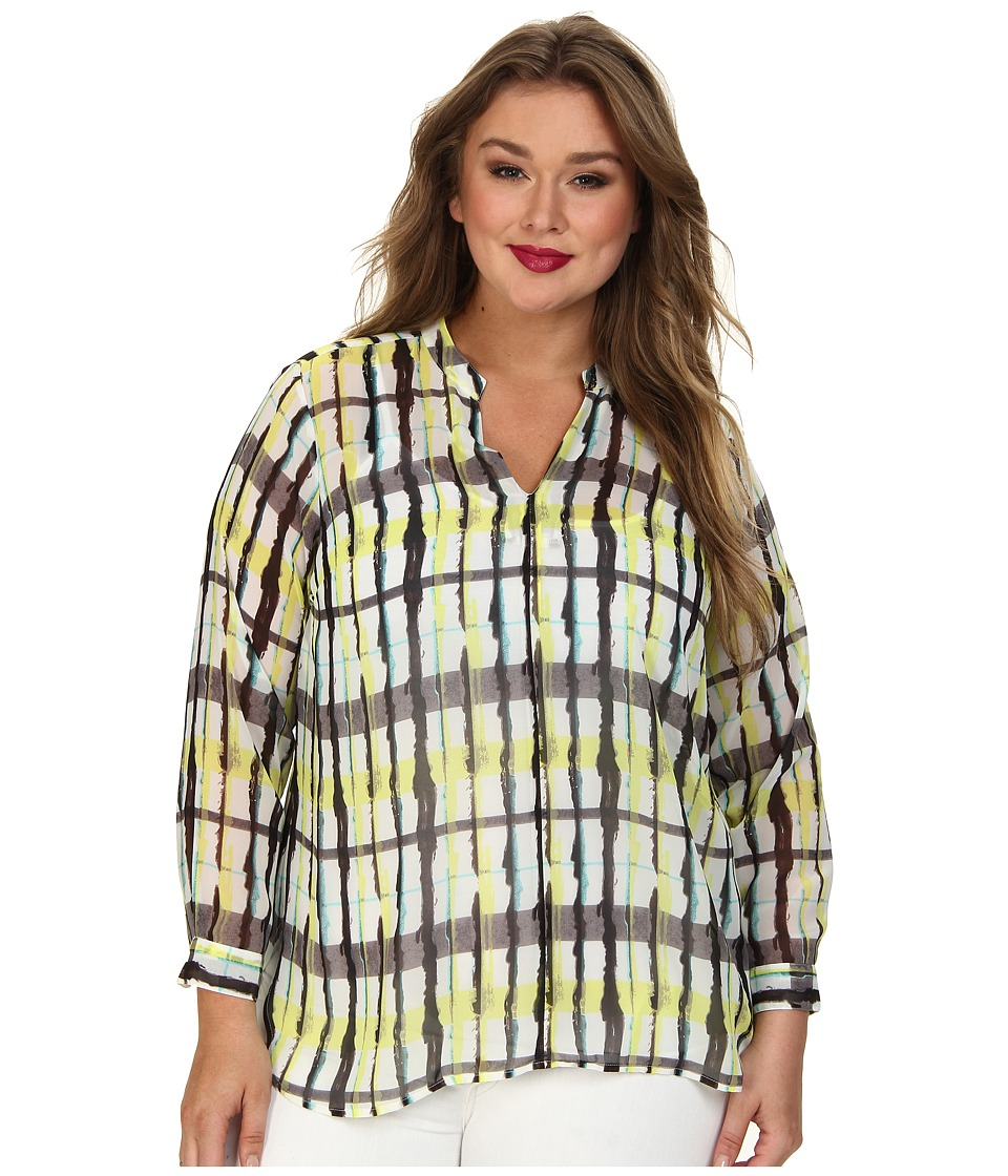 Vince Camuto Plus - Plus L/S Plaid Collage Blouse w/ Roll Tabs (Lemon Zest) Women