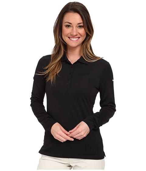Nike Golf - Victory L/S Polo (Black/White) Women's Long Sleeve Pullover
