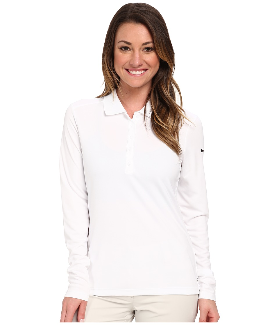 Nike Golf - Victory L/S Polo (White/Black) Women's Long Sleeve Pullover